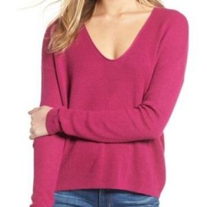 bp Sweaters - BP Pink Plumier Textured Stitch V-Neck Pullover